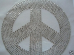 Riesen Peace 20x20cm!!! Hotfix Hotglue Applikation Strass EDEL